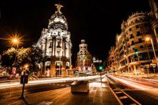 17409869 - street traffic in night madrid, spain ( hdr image )