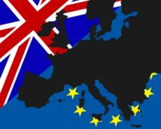 40649817 - power struggle between the uk and europe the black map of europe has been deposited with the flags of britain and europe