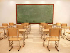 39785550 - illustration of bright empty classroom with desks and chairs
