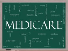 14742678 - medicare word cloud concept on a blackboard with great terms