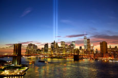 43614311 - manhattan skyline and the towers of lights at sunset in new york