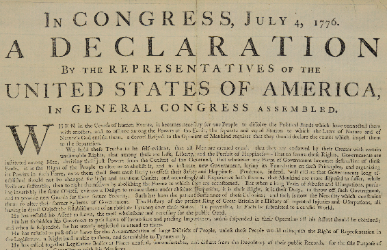 Declaration of Independence - Source: Library of Congress